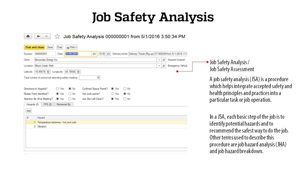 Job Safety Analysis - RigER - Oilfield Rental Software
