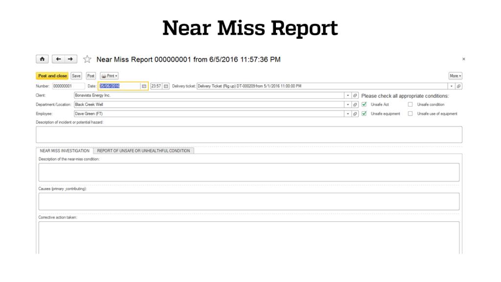 Safety - Near Miss Report- RigER - Oilfield Rental Software