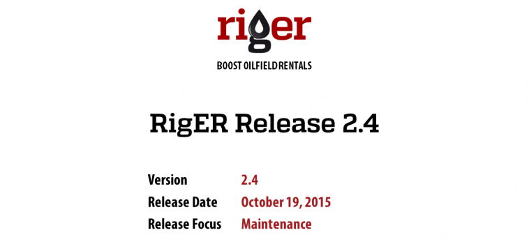RigER Version 2.4 – Rental Equipment Maintenance